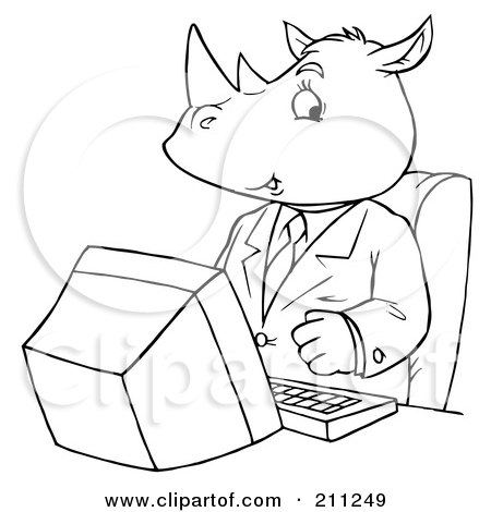 Computer Outline Clipart