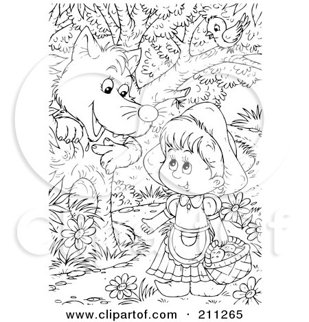 Clipart Illustration of Little Red Riding Hood Carrying A