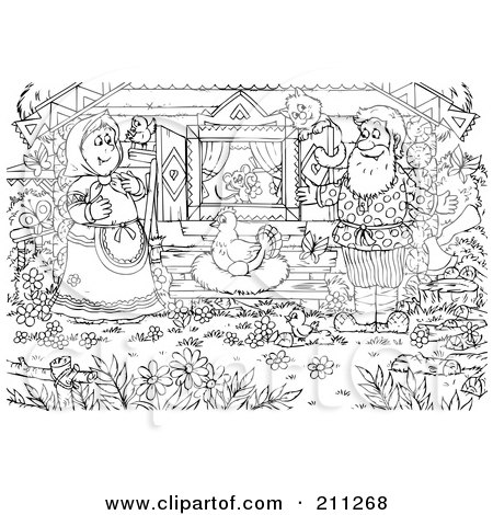 Coloring Page Outline Of A Couple Watching A Chicken Lay
