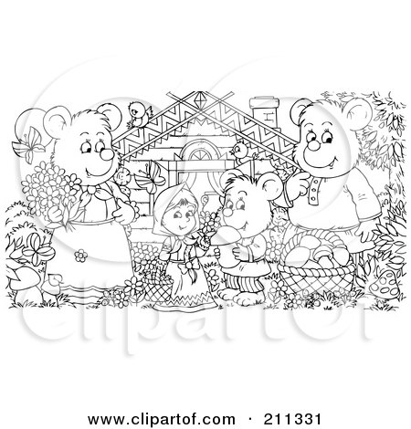 Coloring Page Outline Of A Bear Family And Goldilocks By A