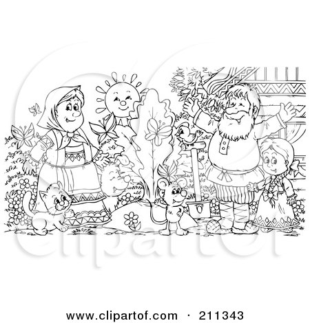 Coloring Page Outline Of A Happy Family By A Giant Turnip