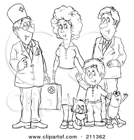 Coloring Page Outline Of A Doctor Talking With A Family