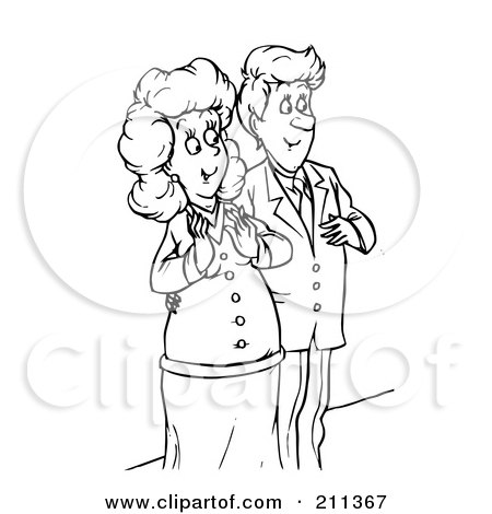Clipart Happy Father Holding His Little Girl As She Rings