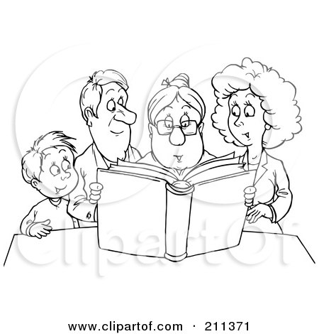 Coloring Page Outline Of A Granny Reading A Story To A