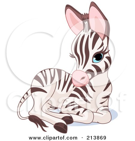 Clipart Cute Baby Zoo Zebra Royalty Free Vector