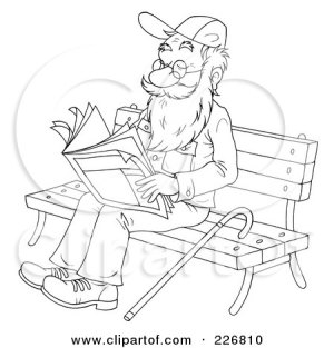 coloring bench reading outline senior clipart illustration drawings pages rf log royalty bannykh alex cabin clipartof