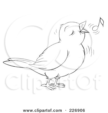 Coloring Page Outline Of A Cute Singing Bird Posters, Art