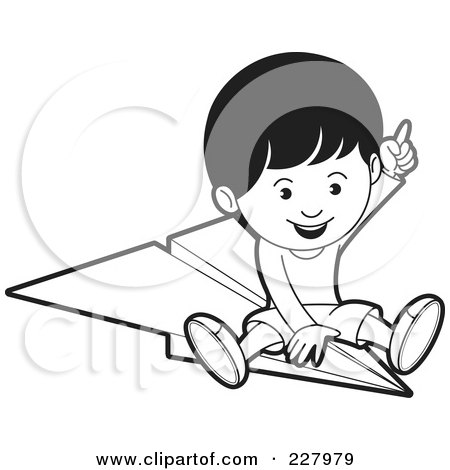 Coloring Page Outline Of A Boy Riding A Paper Airplane