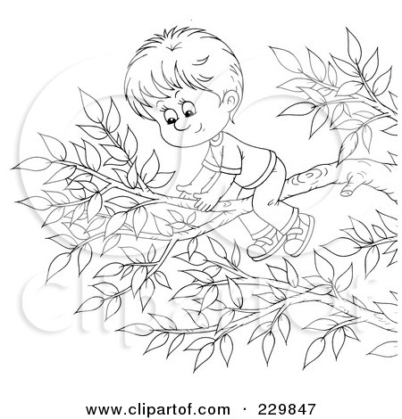 Royalty-Free (RF) Clipart Illustration of a Boy On A Tree