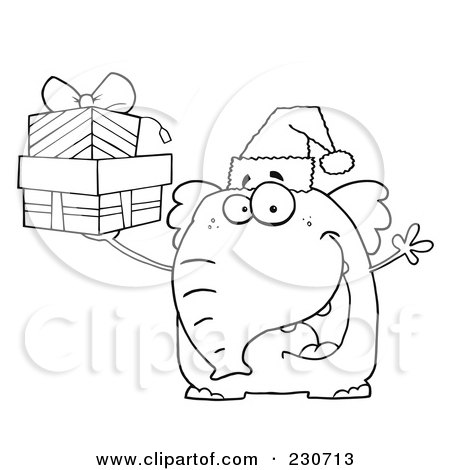 Coloring Page Outline Of An Elephant Wearing A Santa Hat