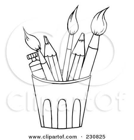 Coloring Page Outline Of A Cup Of Pencils And Paintbrushes