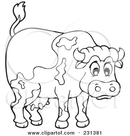 Royalty-Free (RF) Clipart Illustration of a Furious Bull