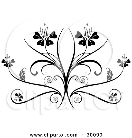 clipart illustration of two flowers