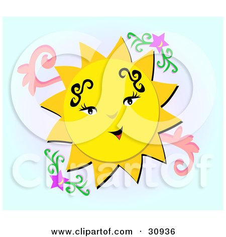 Royalty-Free (RF) Clipart Illustration of a Happy Sun On Colorful Waves