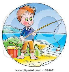 fishing boy clipart standing shore pail illustration fish alex bannykh bucket cartoon cat poster pole worms print royalty disappointed fisherman