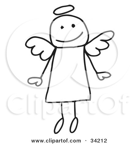 picture of a cute flying stick angel with a halo, on a white background.