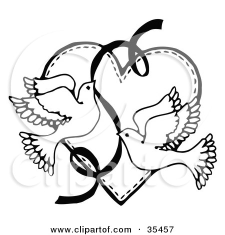 Clipart Illustration of Two Black Hearts Entwined Over A