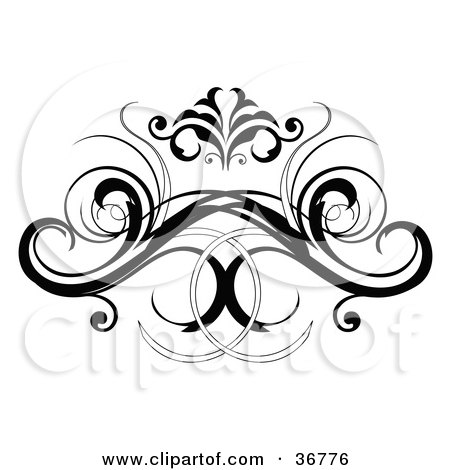 a black decorative design element or back tattoo, on a white background.