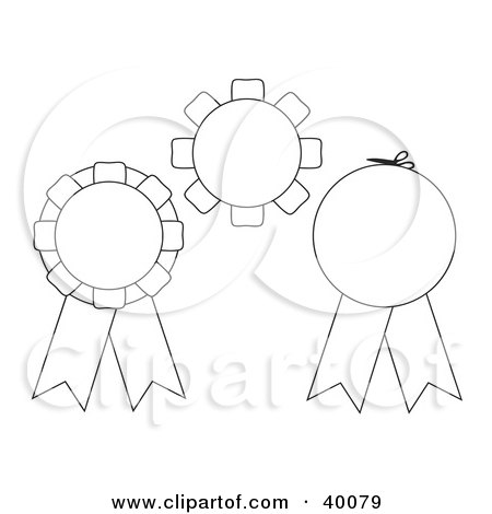 3d Red, Blue And Gold Rosette Ribbon Awards With Copyspace