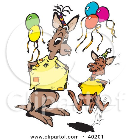 Clipart Illustration of a Busy Kangaroo Office Worker