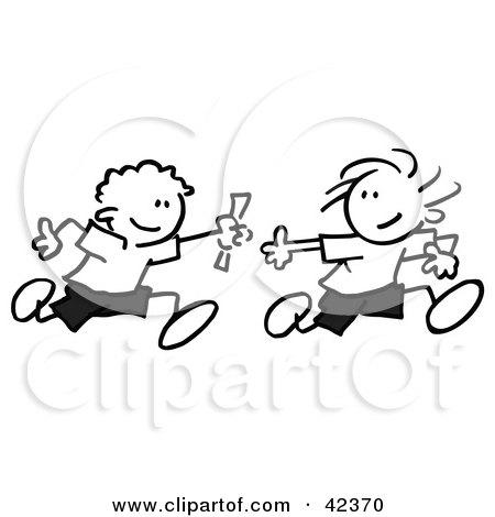Clipart Illustration of Black And White Stick Children