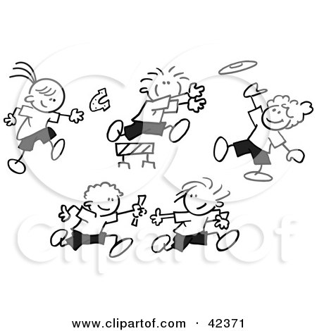 Clipart Illustration of a Stick Figure Running And Leaping
