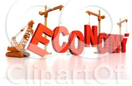 graphic showing the word 'economy' under construction