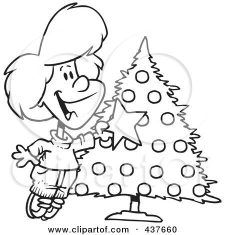 Black and White Christmas Tree Clip Art