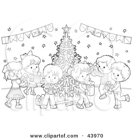 Christmas Party Black And White Clipart