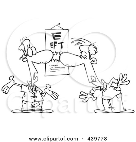 Cartoon Black And White Outline Design Of A Man Reading An