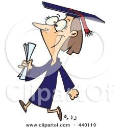 college cartoon graduate student female clip clipart walking senior illustration rf royalty toonaday leishman ron