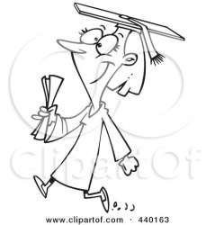 cartoon college graduate female outline graduating clip student proud illustration senior clipart daughter rf royalty walking father mother leishman ron