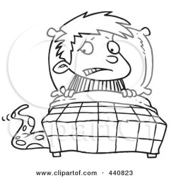 Cartoon Black And White Outline Design Of A Scared Boy Seeing A Monster Emerging From Under The Bed Posters Art Prints by Interior Wall Decor #440823
