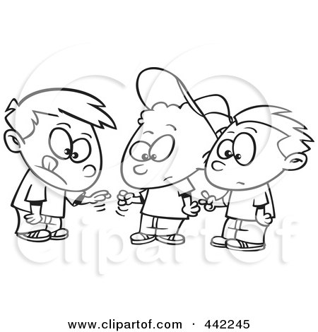 Cartoon Black And White Outline Design Of A Group Of Boys