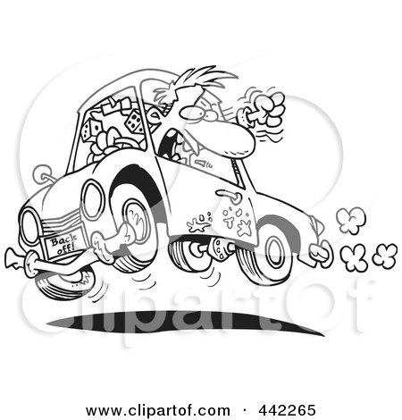 Royalty-Free (RF) Clip Art Illustration of a Cartoon Truck