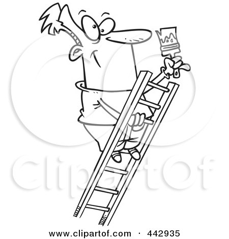 Cartoon Black And White Outline Design Of A Painter
