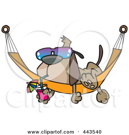Cartoon Dog Lounging On A Hammock Posters, Art Prints