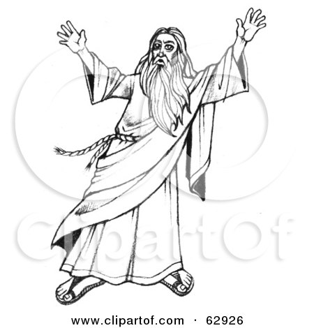 Clipart of a Black and White Moses Holding up the Ten