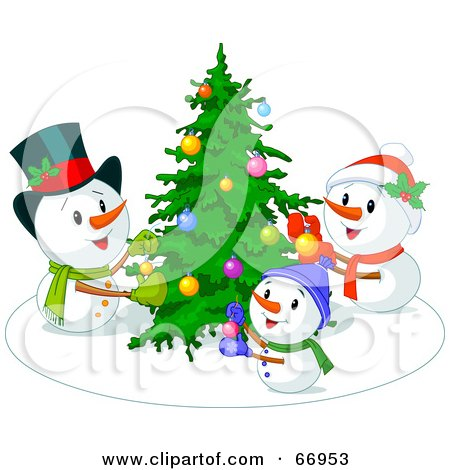 RoyaltyFree RF Snowman Family Clipart Illustrations Vector Graphics 1