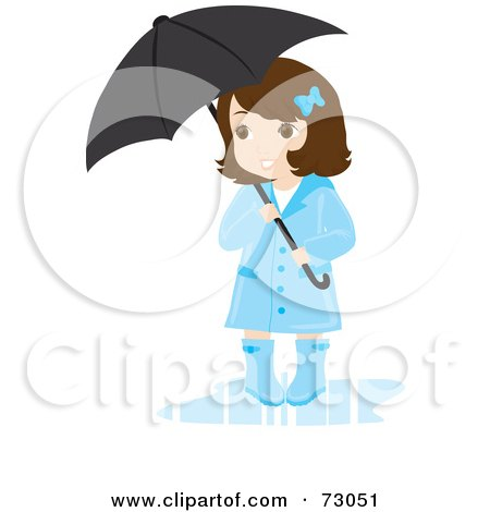 Royalty-free clipart picture of a cute little girl wearing a rain coat