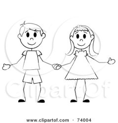 Royalty Free RF Clipart Illustration of a Black And White Stick Boy And Girl Holding Hands by Pams Clipart #74004