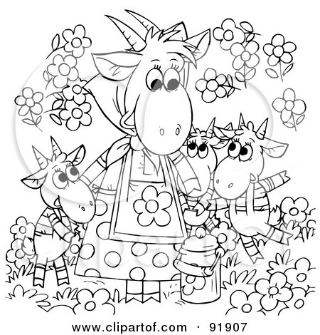Clipart Illustration of a Cute Long Haired Goat With Big Horns, Wearing A Bell And Walking Past