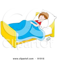 clipart sleeping bed go boy sleep floor illustration clip bedroom remote control getting coloring night outline late royalty illustrations bannykh
