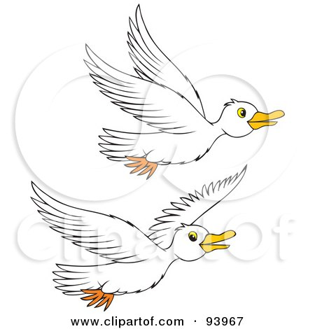Clipart Illustration of Two Geese Waddling And Talking by