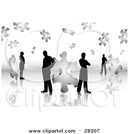 Clipart Illustration of Black Silhouetted Business Men And Women Standing On A Reflective Surface, Surrounded By Puzzle Pieces, Symbolizing Problem Solving, Teamwork And Solutions