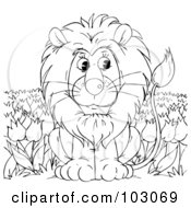 Clipart Illustration of a Playful Young Male Lion With A