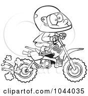 Cartoon of Children Riding Dirt Bikes Through a Hilly