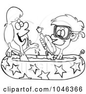 Cartoon of a Relaxed Man with a Drink in a Kiddie Pool