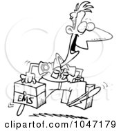Cartoon of an Outlined an Outlined Running Male EMT with a
