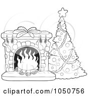 Royalty-Free (RF) Christmas Fireplace Clipart